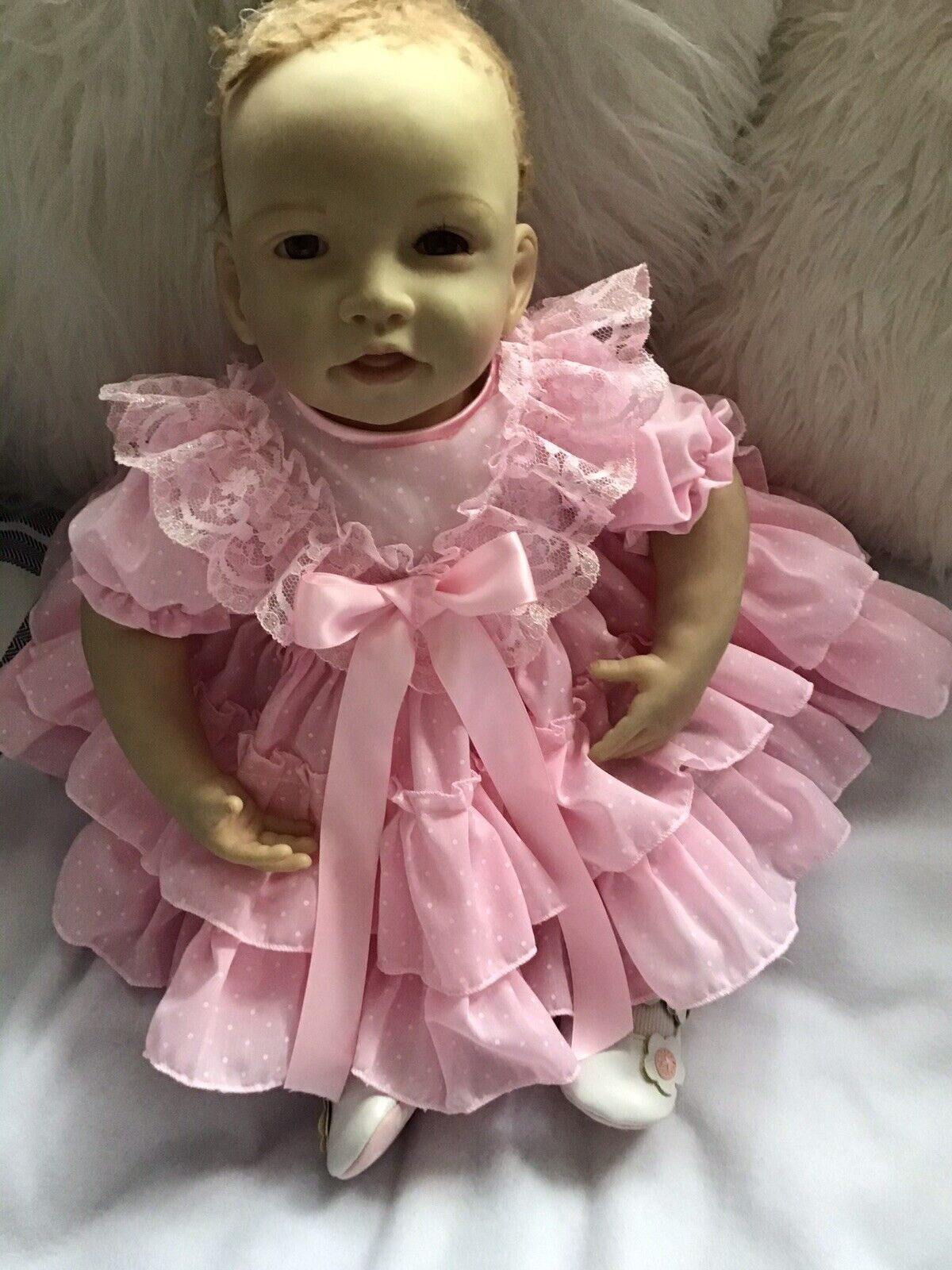CLOTHES FOR BAby 3-6mths /REBORN doll 22inch.Pink Spanish two piece Dress Set
