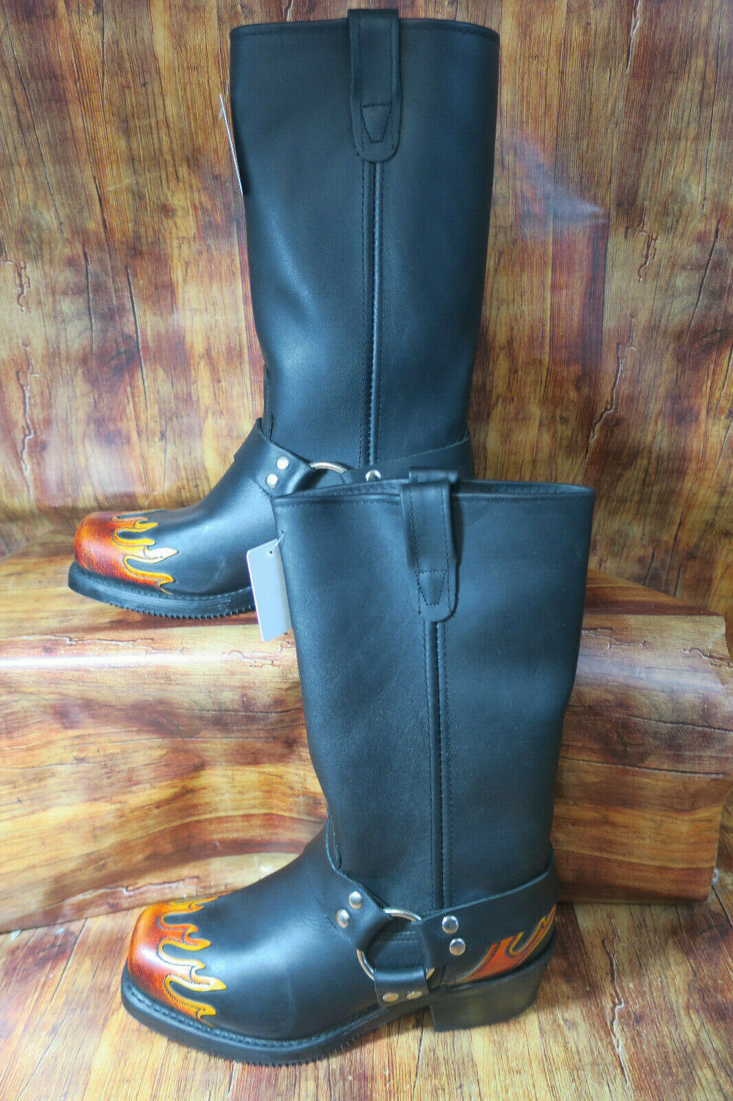 Double H Motorcycle Boots Women's 9.5  Black Leather Flames Harness DH5053  1344