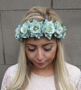 Mint Green Rose Flower Headband Garland Boho Hair Crown Head Band ... cf9457ee47c