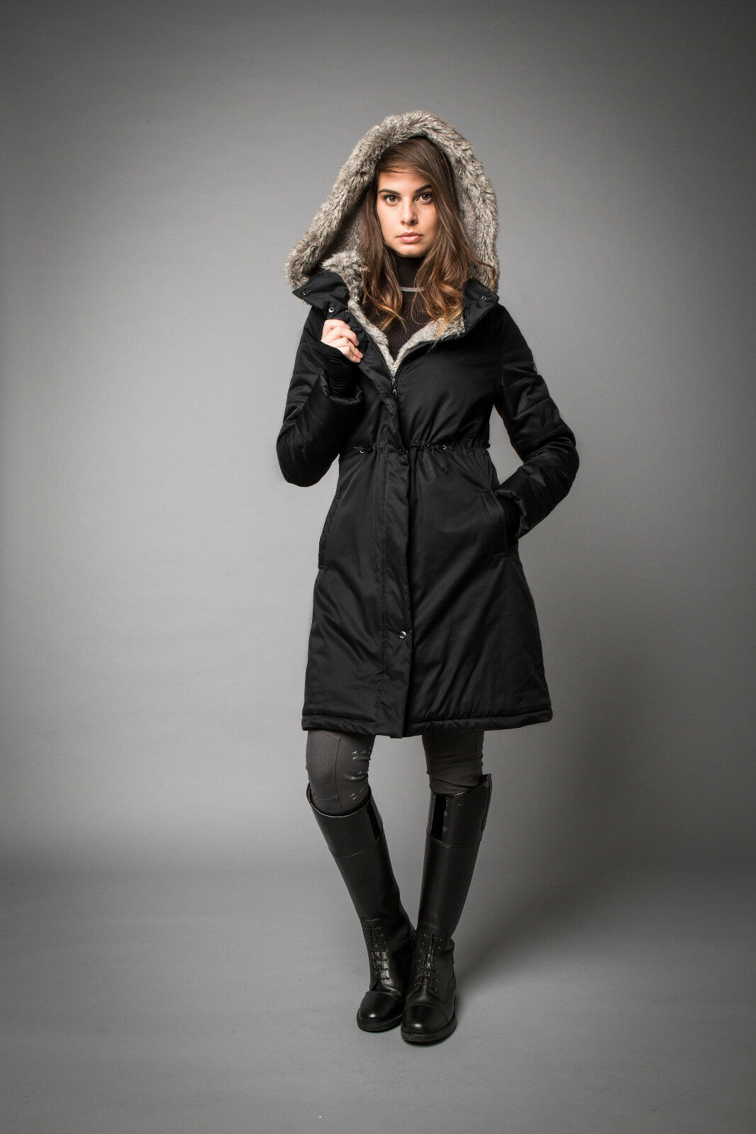 Horseware AA Platinum Ladies LUGANO LONG COAT Faux Fur Warm Espresso Navy XS-XXL