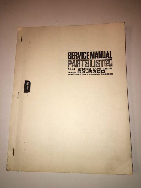 Service Manual  U0026 Parts List For Akai Gx