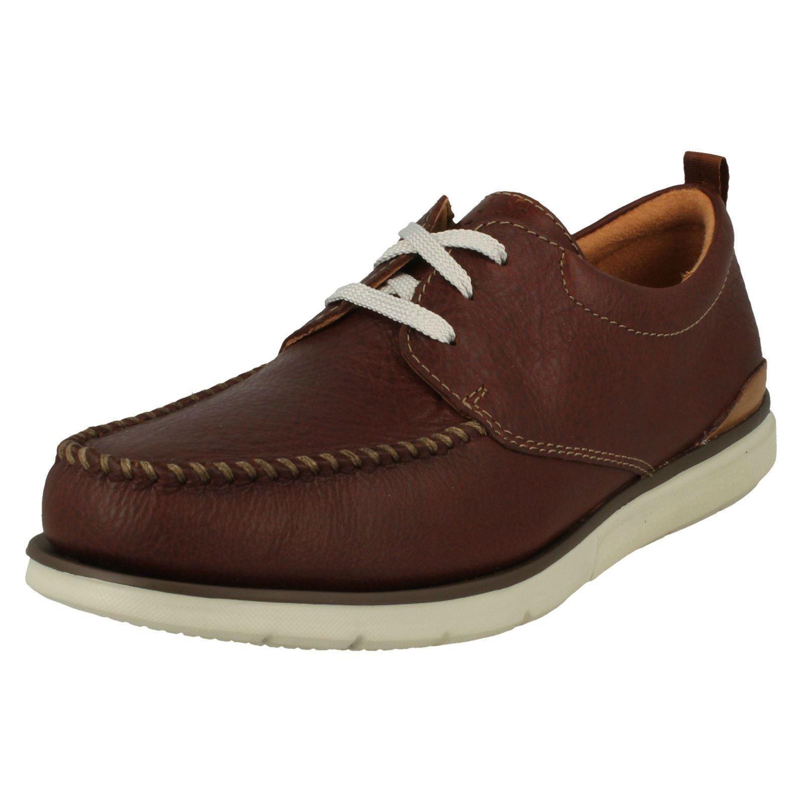 Clarks Cordones Hombre CAOBA Cuero Casual Con Cordones Clarks cotidiano Zapatos Talla EDGEWOOD d30596