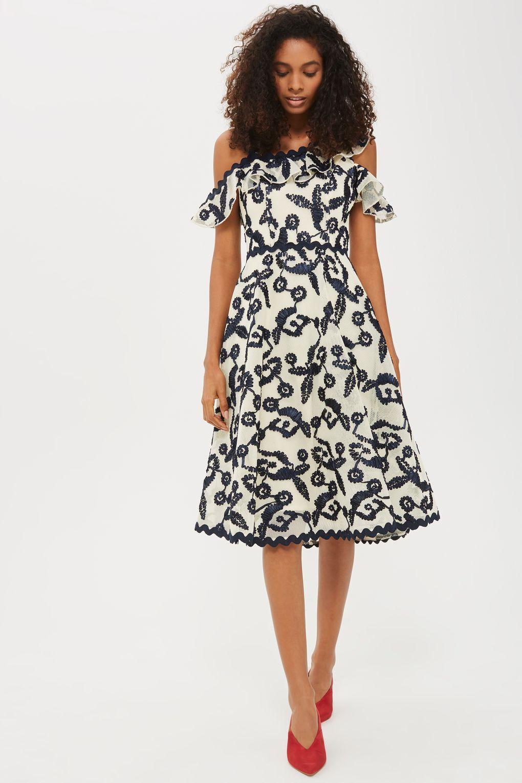 Topshop Cornelli Airtex Bardot Dress (Size = US 14)