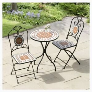 Charmant Details About Mosaic Table And Chairs Terracotta Cast Iron Bistro Coffee  Set Garden Outdoor