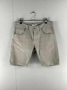 Country-Road-Mens-Grey-Cotton-Flat-Front-Denim-Casual-Chino-Shorts-Size-30