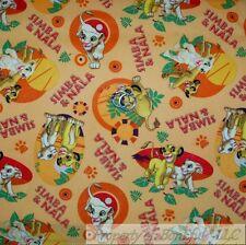 BonEful Fabric FQ Cotton Quilt Orange Red Yellow Lion King Simba Nala Paw Print