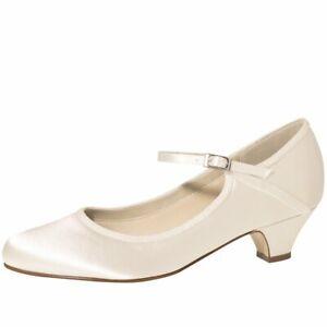 online retailer 51b8b 26f70 Details zu Brautschuhe Satin Schuhe RAINBOW Marsha 3,5 cm FÄRBBAR Riemchen  Pumps Ivory