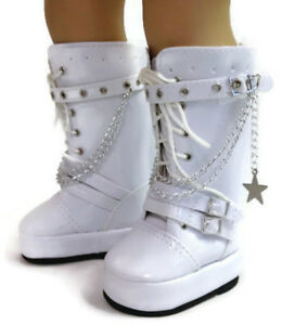 1523aba4fb98 White Go Go Boots with Chains Shoes made for 18