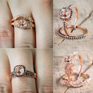 925-Silver-Rose-Gold-Filled-2Pcs-White-Topaz-Wedding-Engagement-Set-Ring-Sz-6-10