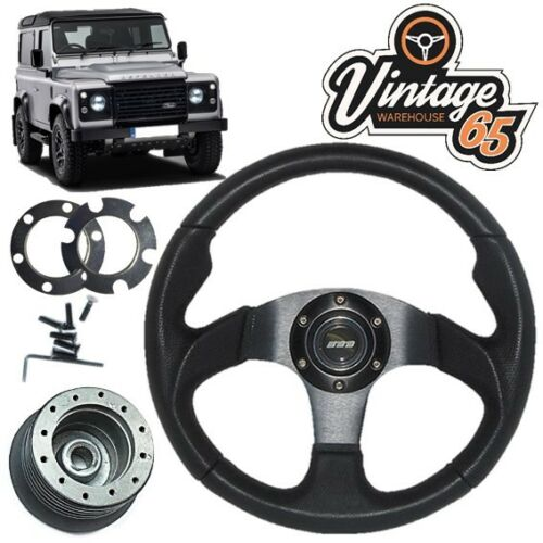 Land Rover Defender Black Motorsport Steering Wheel 36 Spline Boss Kit Horn