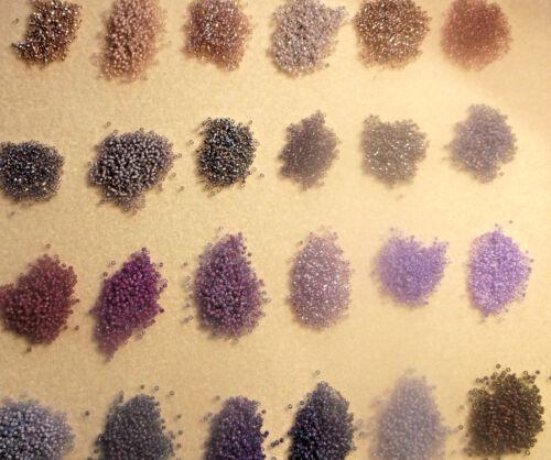 15 x 10gm Packs All the Beautiful Purple Tones Matsuno size 15//0 Beads
