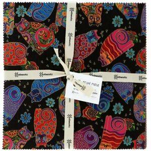 Clothworks-Laurel-Burch-Feline-Frolic-10-034-Squares-42-ea-Layer-Cake-w-Metallic
