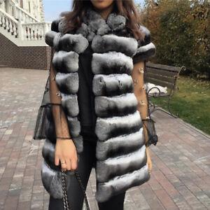 82241eccd54 Women's Real Rex Rabbit Fur Coat Chinchilla Jacket Vest Waistcoat ...