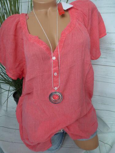 Sheego Crash Blouse Shirt Taille 46-48 manches courtes Oil Wash Simili NEUF 932