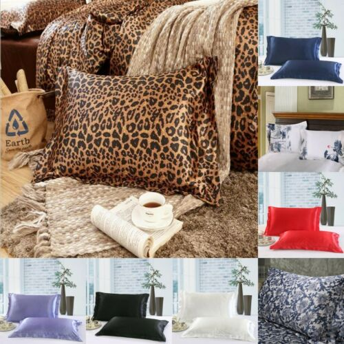 Silky Breathable Queen Silk Satin Pillow Case Bedding Pillowcase Home Decor