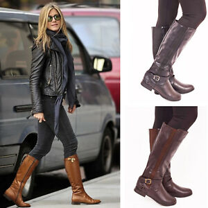 4f998ee4a37 Ladies Womens Winter Flat Walking Knee High Boots Casual Fashion Zip ...