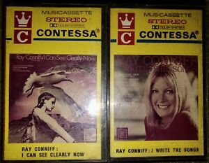 LOT-OF-2-VINTAGE-RAY-CONNIFF-CASSETTE-TAPES-PAPER-LABELS-CONTESSA-MUST-SEE-LOOK