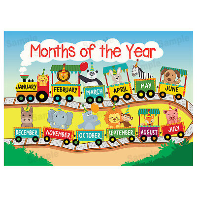 Months of the Year Poster Educational Wall Charts Learn Kids Children/'s Poster