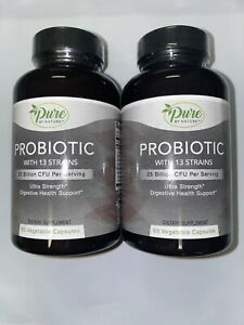 2-Pure-By-Nature-Probiotic-w-13-Strains-60-Caps-Bottle-120-Total-Exp-09-28-21