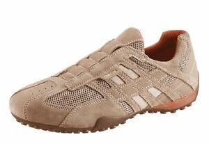 Dettagli su Geox Respira Uomo Snake U4207L C0845 Men Sneakers Slip on Shoe Beige