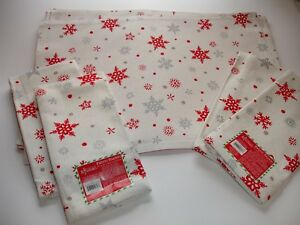 image is loading new s 4 snowflakes christmas placemats napkins set - Christmas Placemats And Napkins