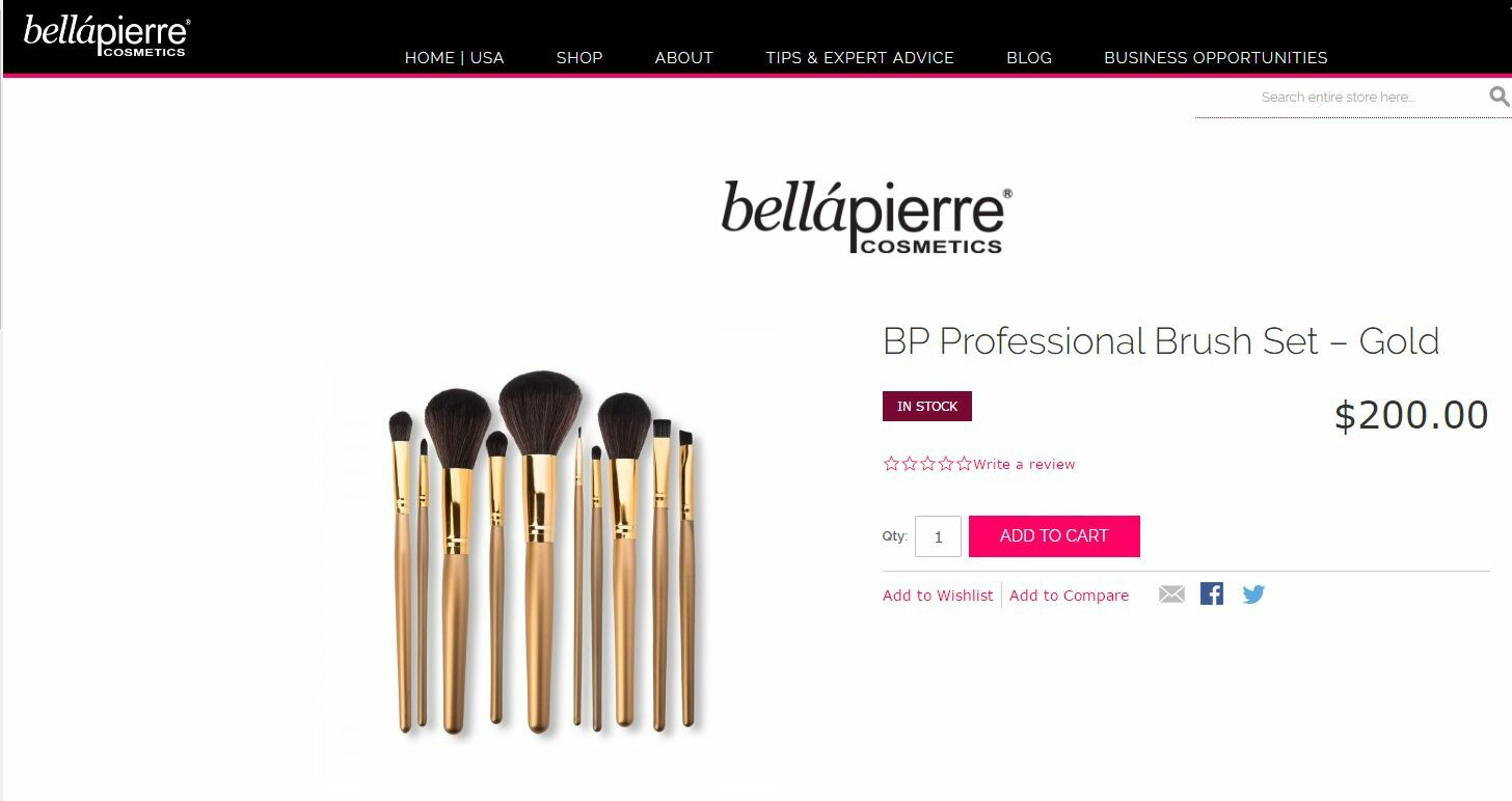 87ac856adc86f Bellapierre 10 PC Professional Cosmetic Make up Brush Set in Faux Leather  Case for sale online