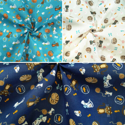 Polycotton Fabric The Cat Mouse Fish Bowl Play Craft Material