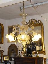 Lampadario di Murano a 6 Luci in CRISTALLO e ORO soffiato XX secolo Italy Glass