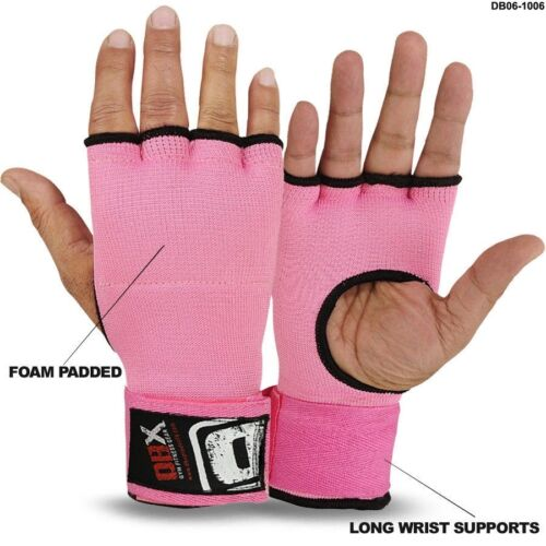 Boxing Padded Gloves Long Wraps Foam Padded MMA Fight Pair Pink