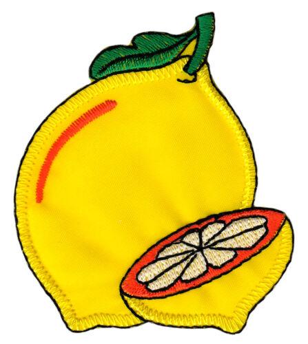 am67 Gelbe Zitrone Zitrusfrucht Aufnäher Bügelbild Flicken Patch 6 x 6,8 cm