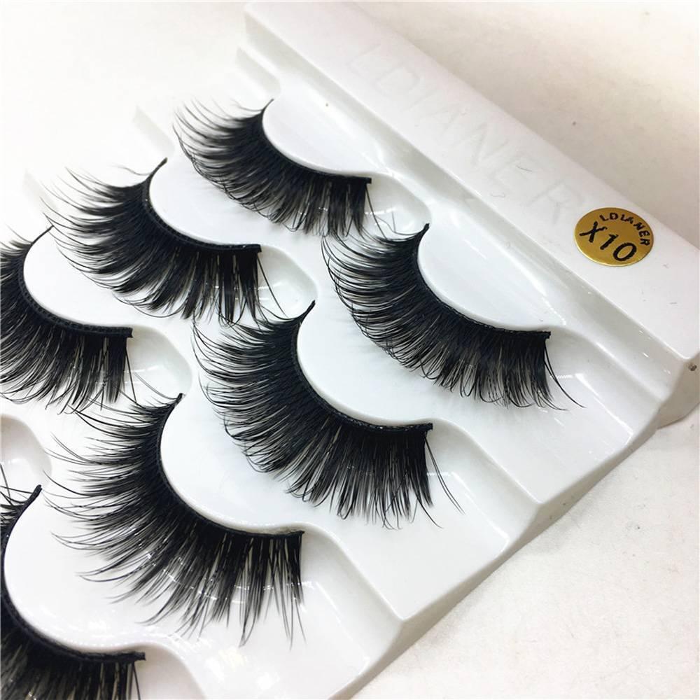 5 Pairs 100% Real Mink 3D Volume Corner Thick False Eyelashes Strip Lashes ENUS