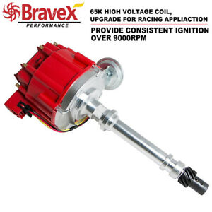 SBC-Chevy-Performance-HEI-Distributor-Red-Cap-Super-Coil-305-350-400-Small-Block