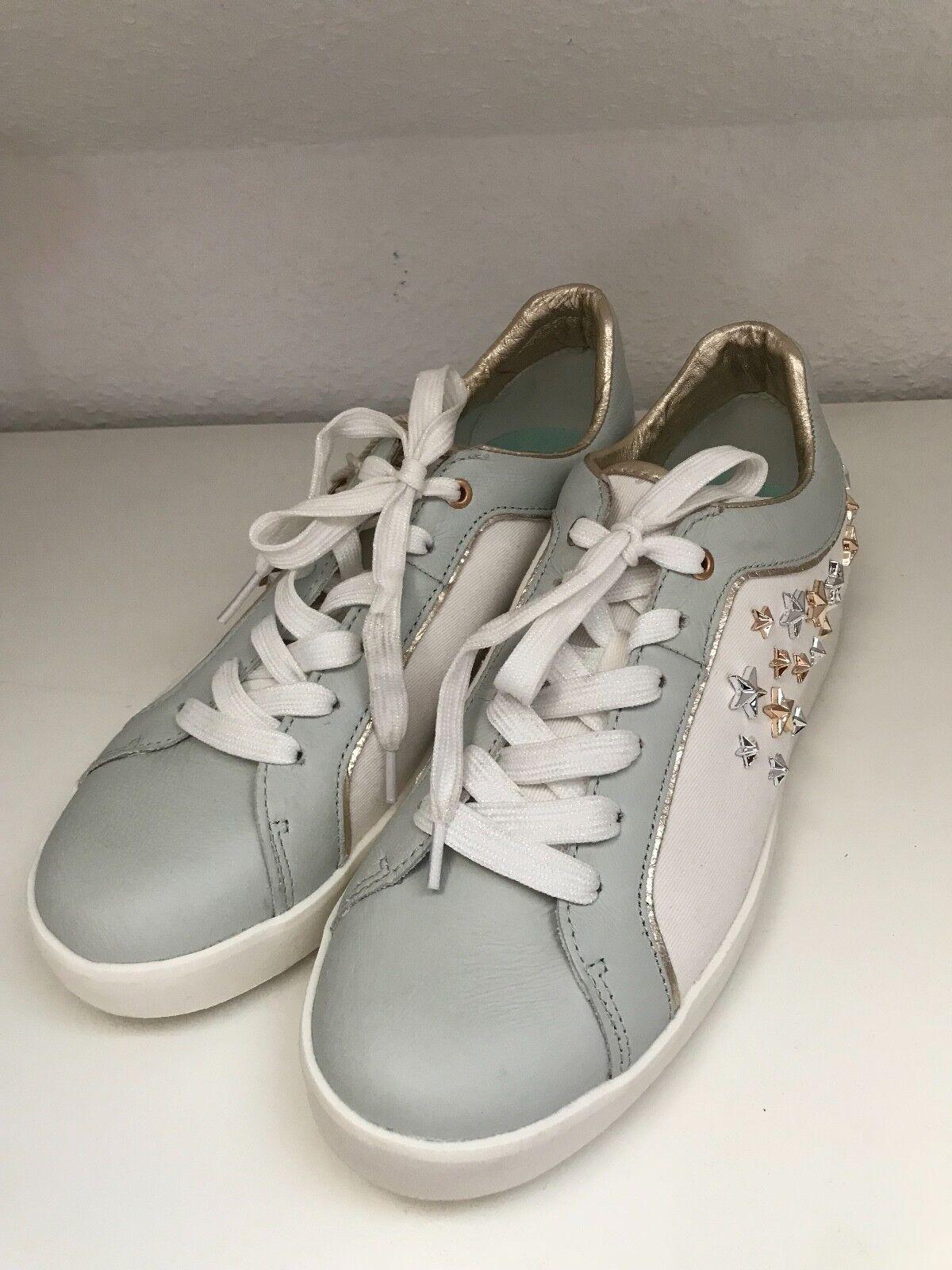 ★☆☆ Sterne REPLAY ☆☆★ coole Damen Echtleder Sneaker Sterne ★☆☆ Nieten Grau/Weiß Gr.41 NEU f1bb71