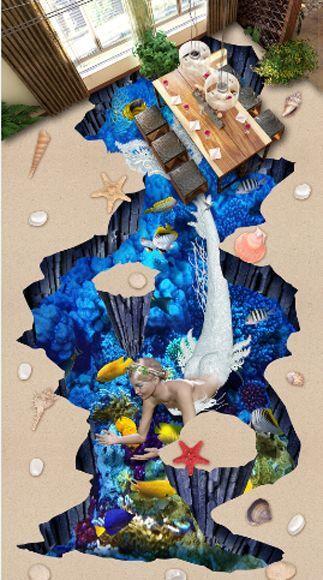 Concha De Mar 51724 piso de peces 3D Papel Pintado Mural Parojo Calcomanía de impresión 5D AJ Wallpaper