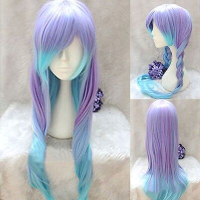 Lolita Purple Blue Mix Ombre Wig Long Straight Gradient Color Hair Cosplay Party