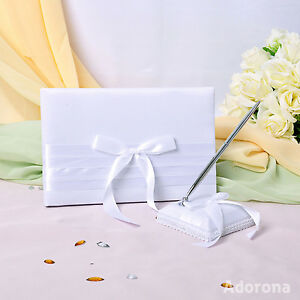 White-Satin-Bow-Guest-Book-and-Pens-GB30b