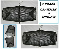 TWO Crawfish Minnow Bait Traps Vinyl Coated Metal Pair Set Of 2 Craw Fish NEW!