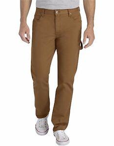 Dickies Men's XU230 Brown Duck FLEX Slim Fit Tapered Leg Carpenter Pant