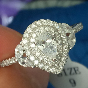 2ct Pear Diamond Engagement Ring 14k Whitegold Finish Double Halo Leaf Solitaire