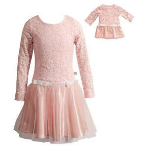 Girl-4-14-and-Doll-Matching-Pink-Lace-Mesh-Holiday-Dress-Clothes-American-Girl