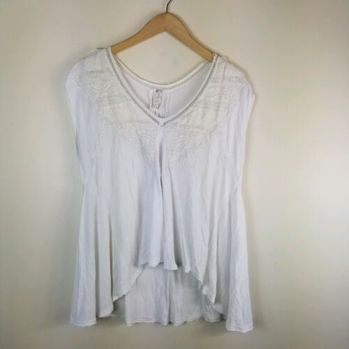 Free People Top Boho Peasant White sleeveless Lace