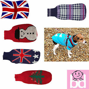 Knitted Dog Jumper Sweater Warm Winter Xmas Christmas Pet Clothes Coat Jacket...