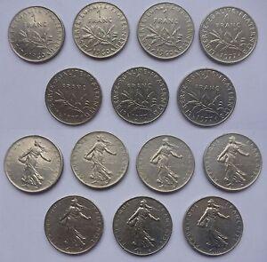 Francia-Repubblica-Republique-Francaise-7-monete-7-coins-1-franco-1-franc