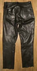 GENUINE-LEATHER-Herren-LEDERJEANS-Biker-Lederhose-in-schwarz-ca-W33-034-L31-034