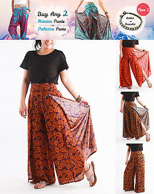 UK Women Palazzo Pants Paisley Flowers Hippie Gypsy Wide Leg Trousers Fit Yoga