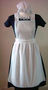 LADIES-APRON-amp-MOP-CAP-ONLY-blue-lace-Victorian-Edwardian-Alice-fancy-dress-set
