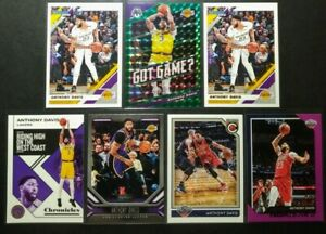 ANTHONY-DAVIS-Lot-7-CARDS-HOOPS-PURPLE-PARALLEL-MOSAIC-GREEN-PRIZM-LAKERS