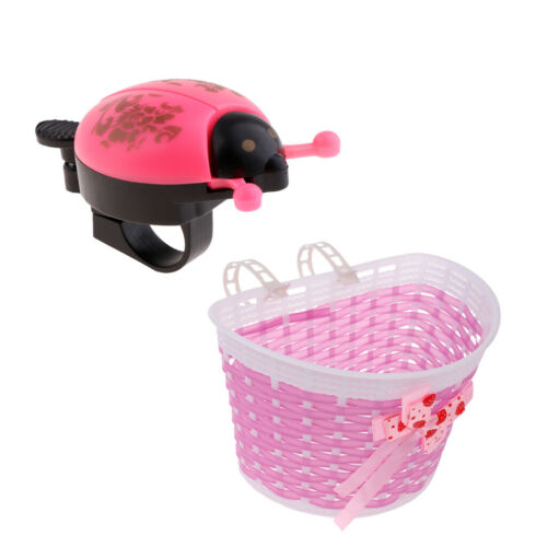 Bicycle Handlebar Front Shopping Detachable Basket /& Bell for Kids Girls Bike