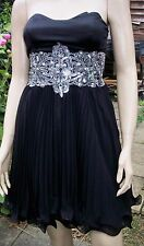 JANE NORMAN Black Silver Sequin Bead Pleat Flounce Hem Lined Party Dress Size 8