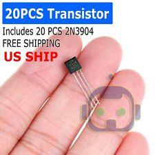 20 Pcs X 2n3904 To 92 Transistor Electronic Chip Triode Three Pins Pack Set Lot